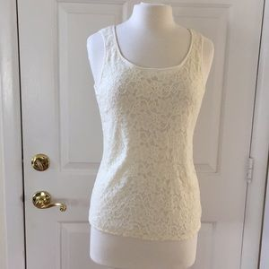 Talbots stretchy ivory lined lace tank cami